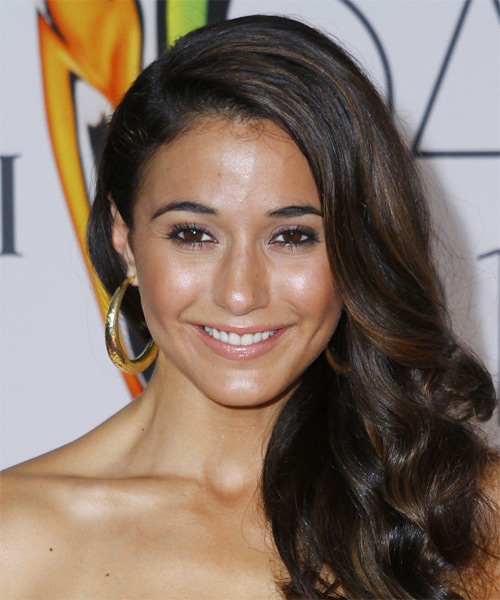 Emmanuelle Chriqui Long Wavy Formal   Hairstyle   - Dark Brunette