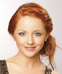 Long Curly Formal  Braided Updo Hairstyle   -  Ginger Red Hair Color