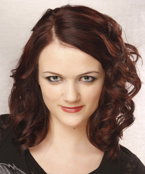Medium Curly Formal   Hairstyle   - Dark Red (Burgundy)