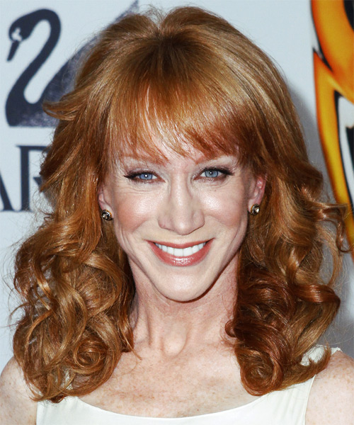 Kathy Griffin Medium Curly Formal   Hairstyle with Blunt Cut Bangs  - Medium Red (Copper)