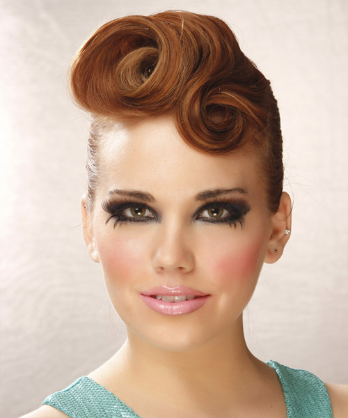 Long Curly Formal Updo Hairstyle Medium Copper Red Hair
