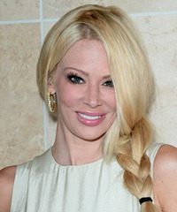 Jenna Jameson  Long Curly Casual  Braided Updo Hairstyle   - Light Golden Blonde Hair Color