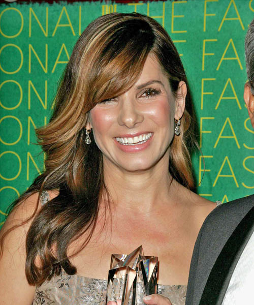 Sandra Bullock Long Straight Formal    Hairstyle with Side Swept Bangs