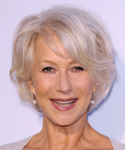 Helen Mirren Short Straight Formal    Hairstyle   - Light Platinum Blonde Hair Color