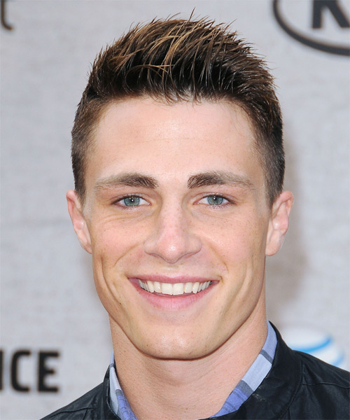 Colton Haynes Short Straight Casual    Hairstyle   -  Brunette Hair Color with  Blonde Highlights