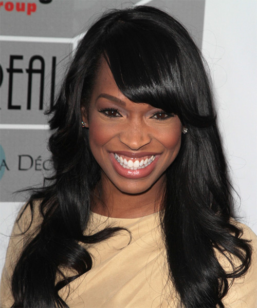 Malika Haqq Long Straight Formal   Hairstyle with Side Swept Bangs  - Black