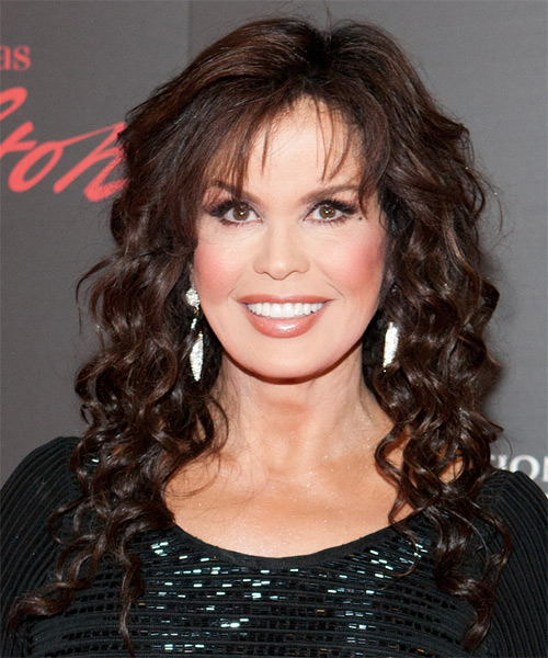Marie Osmond Long Curly Formal   Hairstyle with Layered Bangs  - Dark Brunette