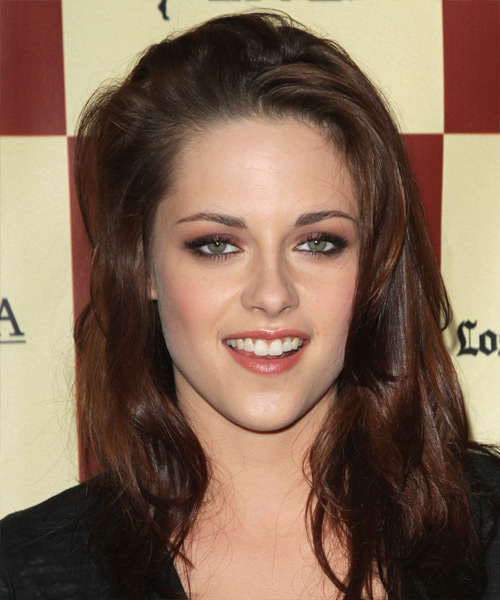 Kristen Stewart Long Straight Casual    Hairstyle   - Dark Brunette Hair Color