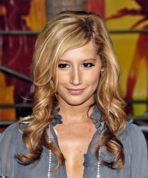 Ashley Tisdale Long Wavy Casual   Hairstyle with Side Swept Bangs  - Light Brunette (Golden)