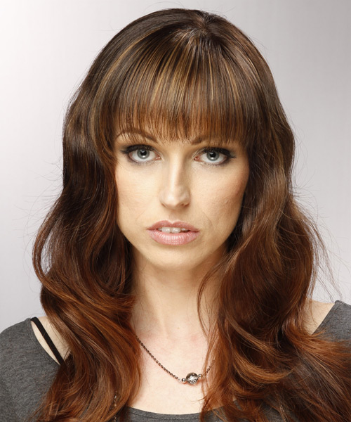 Long Wavy Casual   Hairstyle with Blunt Cut Bangs  - Medium Brunette (Auburn)