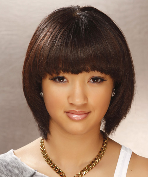 Mid-length brown bob hairstyle for an Oval Face Shape