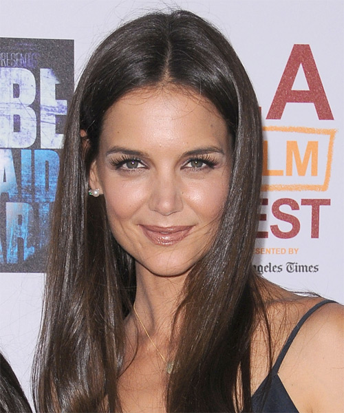 Katie Holmes hairstyle with center part