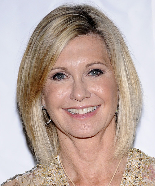 Olivia Newton John Medium Straight Formal    Hairstyle   -  Champagne Blonde Hair Color with Light Blonde Highlights