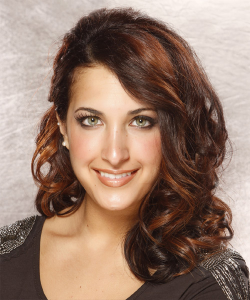Long Wavy Formal    Hairstyle   - Dark Auburn Brunette Hair Color