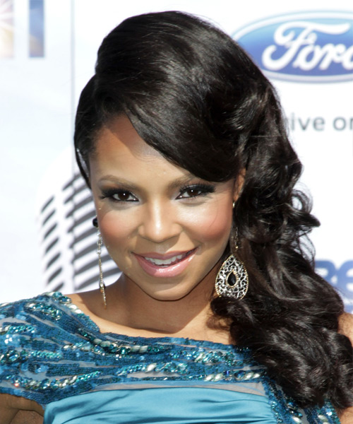 Ashanti Formal Long Curly Updo Hairstyle With Side Swept