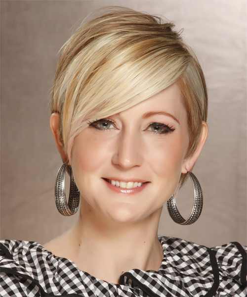 Short straight blonde hairstyle for an Oval Face Shape