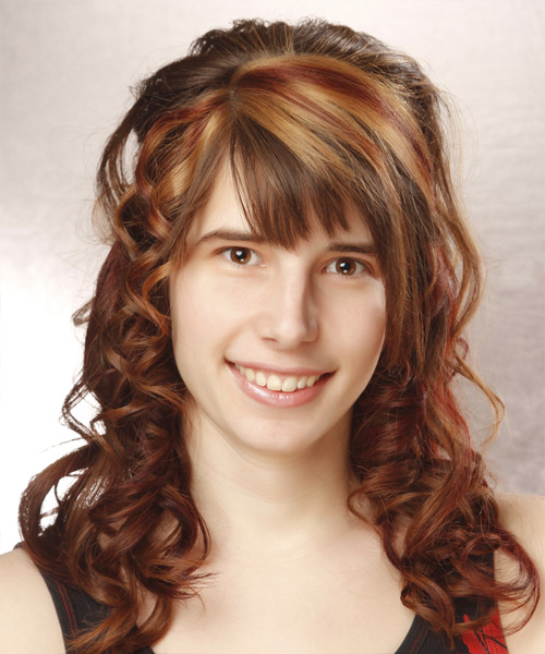 Long Curly Formal   Half Up Hairstyle with Layered Bangs  - Auburn Hair Color with  Red Highlights