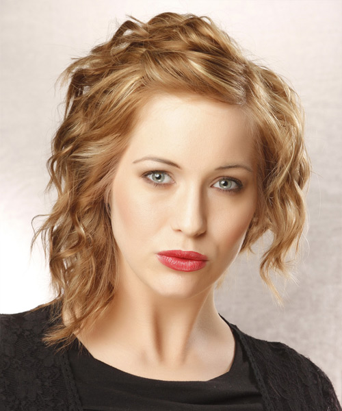Medium Wavy Alternative   Hairstyle   - Dark Blonde (Golden)