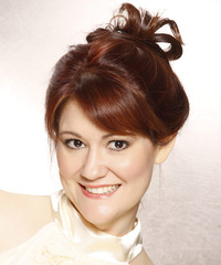Long Straight Casual   Updo Hairstyle with Side Swept Bangs  - Dark Red Hair Color