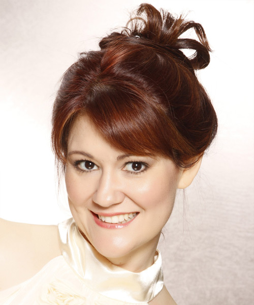 Updo Long Straight Casual  Updo Hairstyle with Side Swept Bangs  - Dark Red