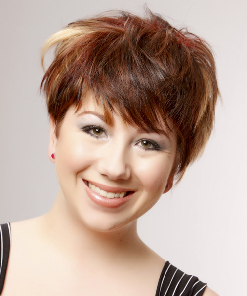 Short Straight Casual    Hairstyle   -  Burgundy Brunette Hair Color with Light Blonde Highlights