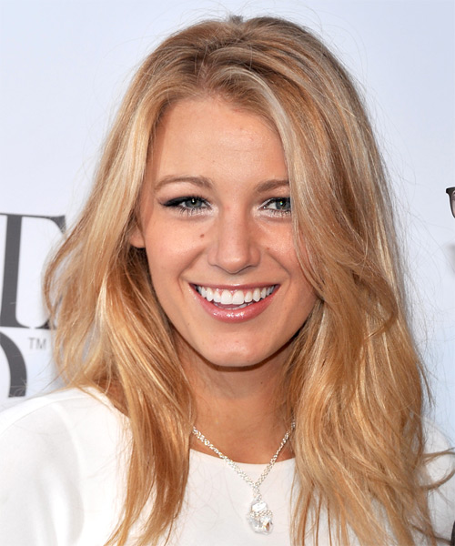 Blake Lively Long Straight    Strawberry Blonde   Hairstyle   with Light Blonde Highlights