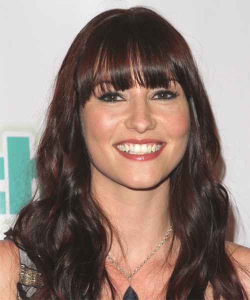 Chyler Leigh Long Wavy Casual   Hairstyle with Blunt Cut Bangs  - Dark Brunette (Mocha)