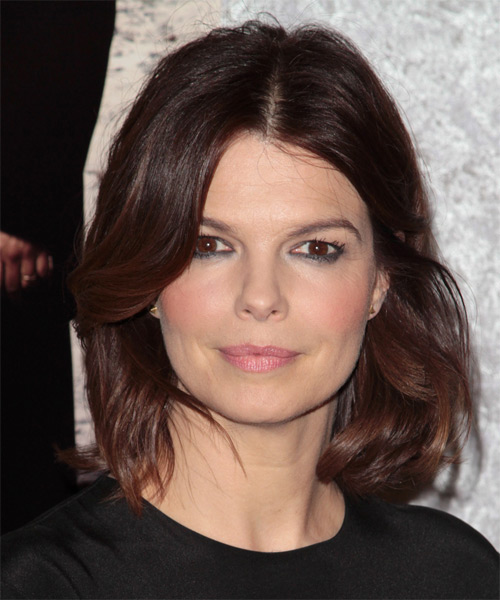 Jeanne Tripplehorn Medium Wavy Casual   Hairstyle   - Dark Brunette
