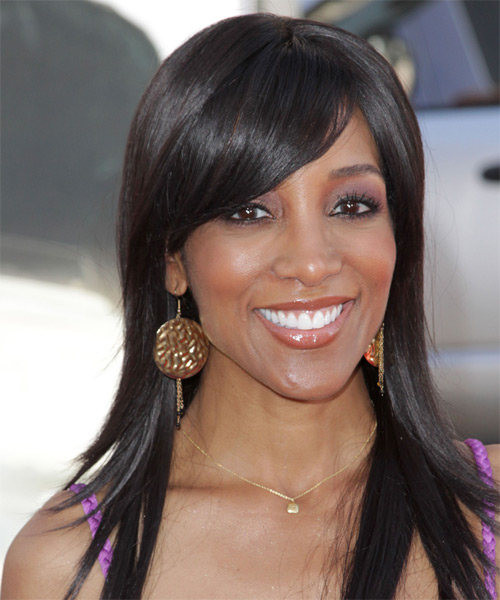 Shaun Robinson Long Straight Formal   Hairstyle with Side Swept Bangs  - Dark Brunette (Mocha)
