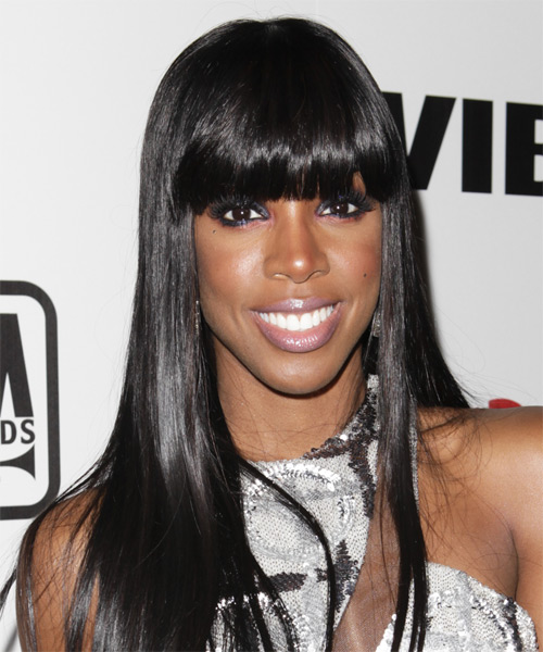 Kelly Rowland Long Straight Formal   Hairstyle with Blunt Cut Bangs  - Black