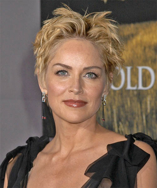 Sharon Stone Short Straight Casual    Hairstyle   - Medium Honey Blonde Hair Color
