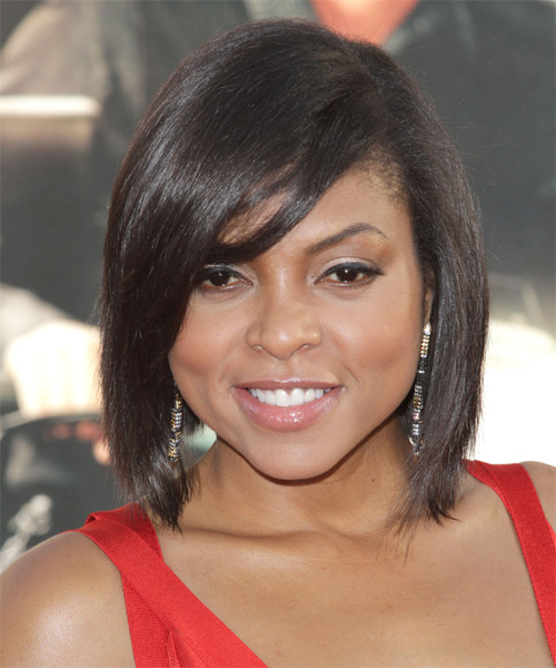 Taraji P. Henson Medium Straight   Dark Brunette   Hairstyle with Side Swept Bangs