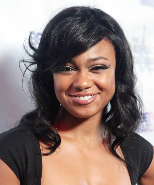 Tatyana Ali Medium Wavy Casual   Hairstyle with Side Swept Bangs  - Black