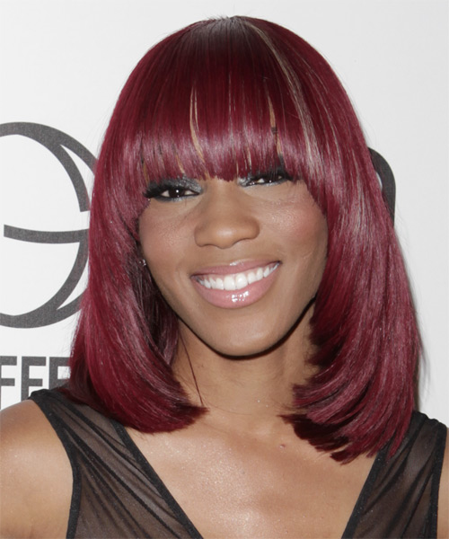 Dondria Medium Straight Formal   Hairstyle with Blunt Cut Bangs  - Medium Red (Burgundy)