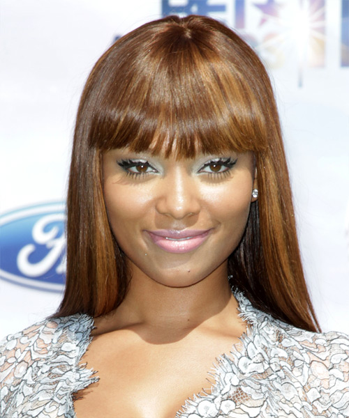 Teairra Mari Long Straight Formal   Hairstyle with Blunt Cut Bangs  - Medium Brunette (Caramel)
