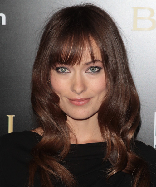 Olivia Wilde Long Wavy Casual   Hairstyle with Blunt Cut Bangs  - Medium Brunette (Chocolate)
