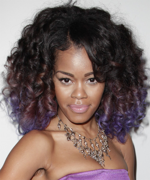 Teyana Taylor Medium Curly Formal    Hairstyle   - Black  and Purple Two-Tone Hair Color