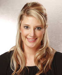 Long Straight Casual   Half Up Hairstyle with Side Swept Bangs  -  Blonde Hair Color with Light Blonde Highlights