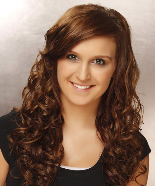 Long Curly Casual    Hairstyle with Side Swept Bangs  -  Brunette Hair Color