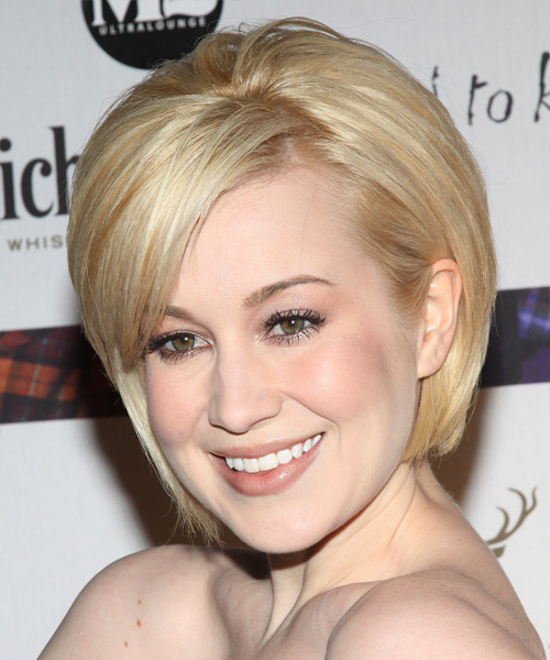 Kellie Pickler Short Straight Formal Layered Bob  Hairstyle with Side Swept Bangs  - Light Golden Blonde Hair Color with Dark Blonde Highlights