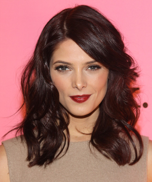 Ashley Greene Medium Wavy Casual   Hairstyle with Side Swept Bangs  - Dark Brunette (Chocolate)
