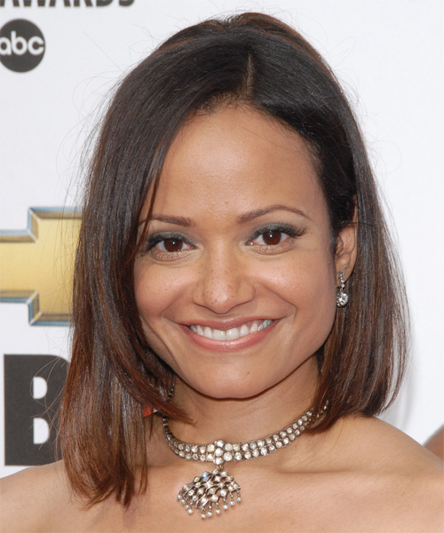 Judy Reyes Medium Straight Formal Bob  Hairstyle   - Dark Brunette