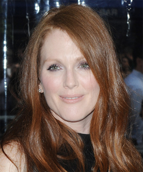 Julianne Moore Long Straight Casual    Hairstyle   - Medium Auburn Red Hair Color