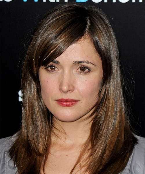 Rose Byrne Medium Straight Formal   Hairstyle with Side Swept Bangs  - Medium Brunette
