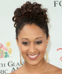 Tamera Mowry   Long Curly Formal   Updo Hairstyle   - Black  Hair Color with  Brunette Highlights
