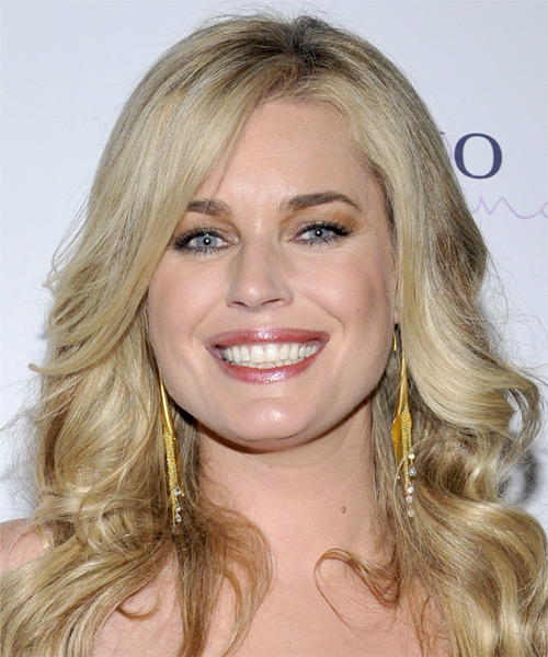 Rebecca Romijn Long Wavy   Light Platinum Blonde   Hairstyle with Side Swept Bangs  and Dark Blonde Highlights