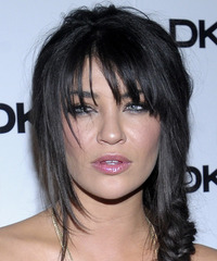 Jessica Szohr  Long Curly Casual   Updo Hairstyle with Layered Bangs  - Black  Hair Color