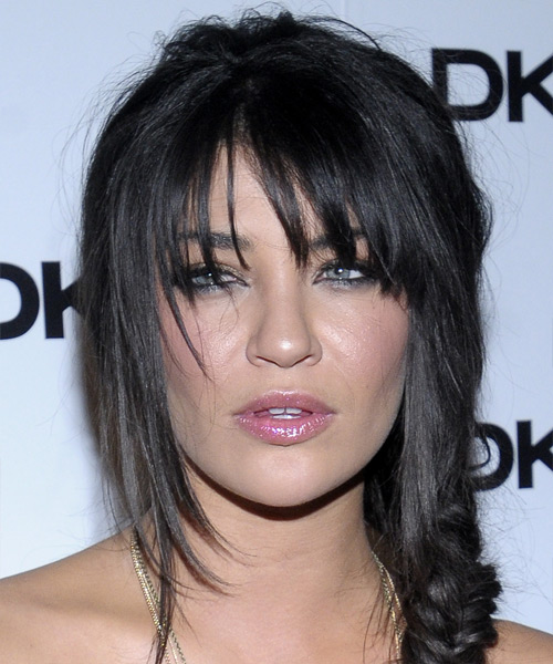 Jessica Szohr Updo Long Curly Casual  Updo Hairstyle with Layered Bangs  - Black