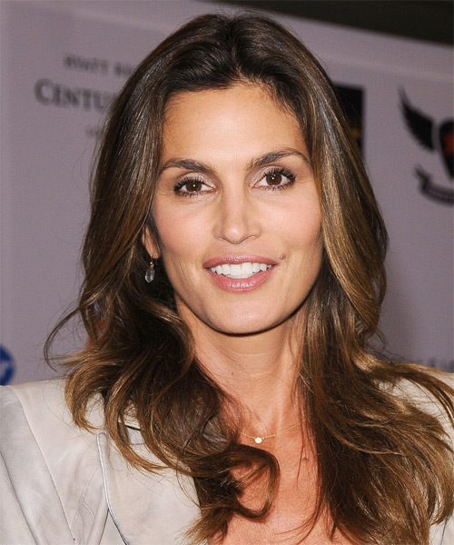 Cindy Crawford Long Straight Formal    Hairstyle   -  Brunette Hair Color with Light Brunette Highlights