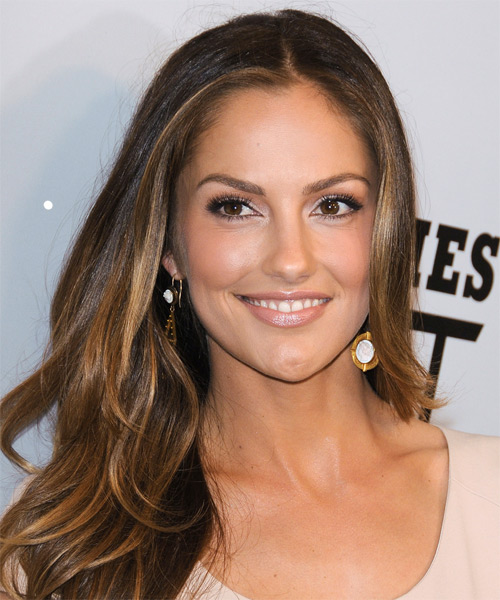 Minka Kelly Long Straight Brunette Hairstyle With Light